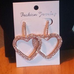 Jewelry - Large Gold Rhinestone Heart Earrings